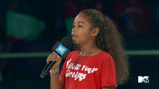 MILLIE DAVIS SPEAKS AND THROWS TO AND ACTION VIDEO - WE DAY TORONTO 2017