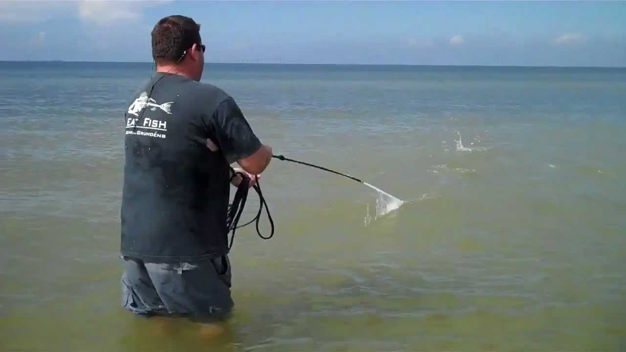 Commercial wade fishing with a 12ft cast net youtube for Fishing net for sale