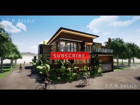 desain rumah minimalis modern tropis 2 lantai kayu, atap
