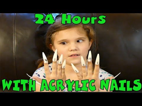 24 Hours With Super Long Acrylic Nails! I Have To Wear Reall Long Fake Nails For 24 Hours