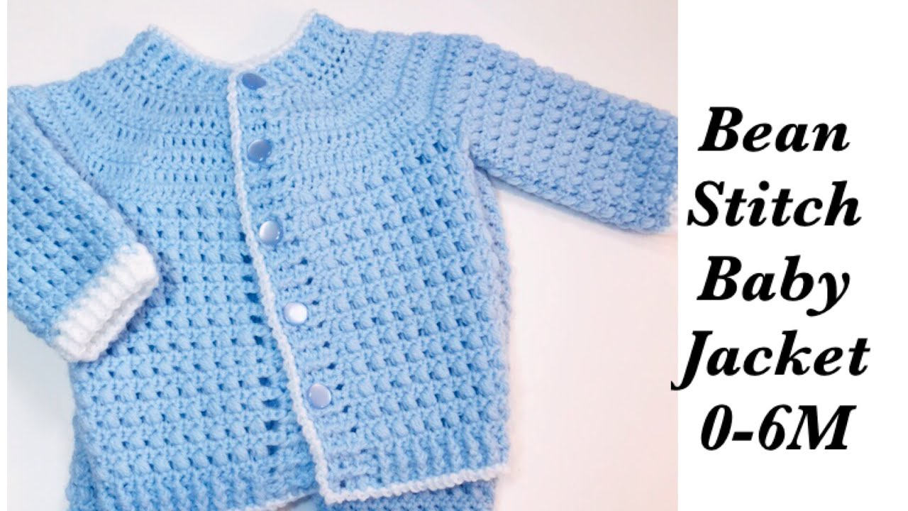 10d1ece5e Baby Boy Set: How to crochet newborn bean stitch jacket - Left Handed 0-6M  Crochet for Baby #171