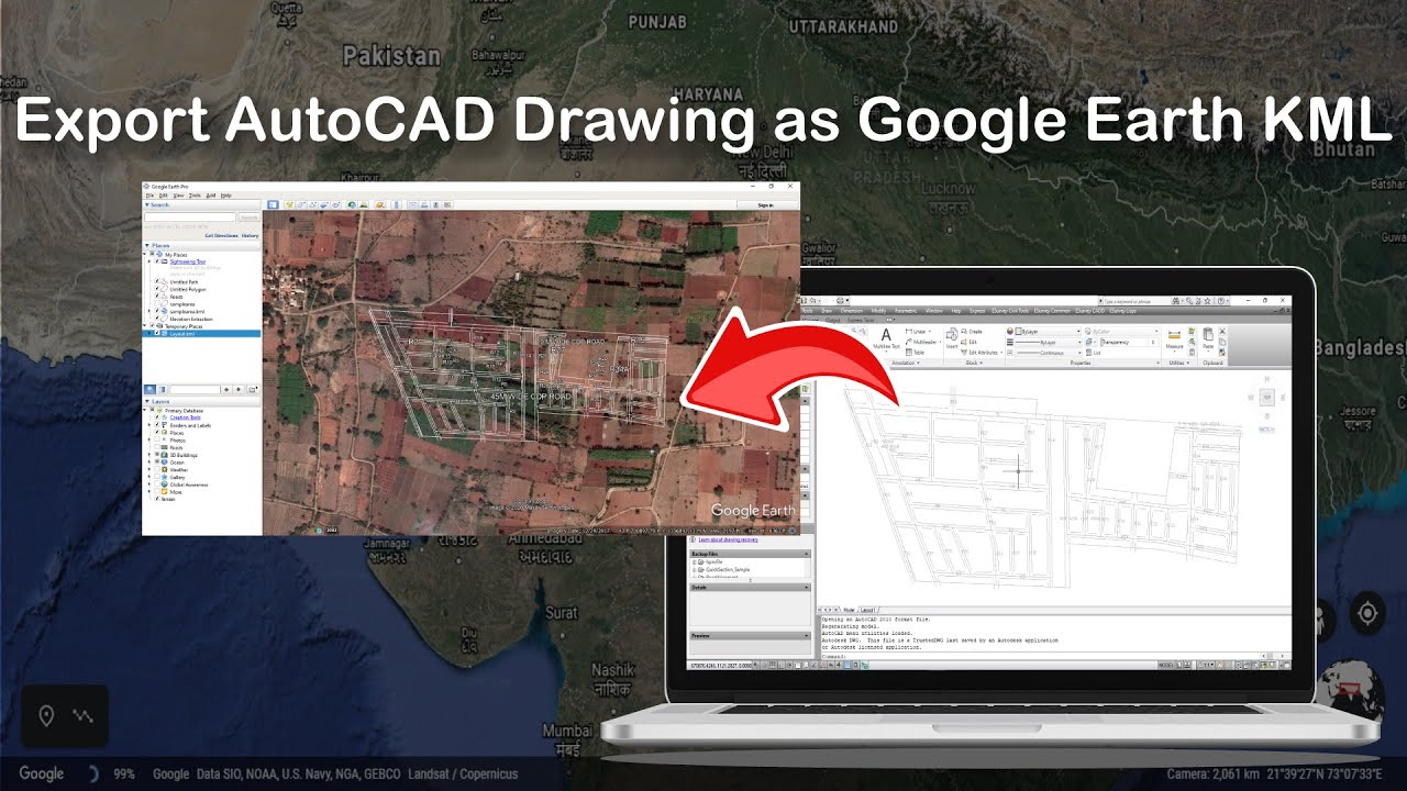 export autocad drawing as google earth kml youtube