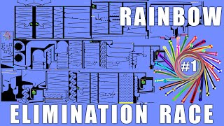Amazing Rainbow Elimination Marble Race With Colors in Algodoo \ Marble Race King