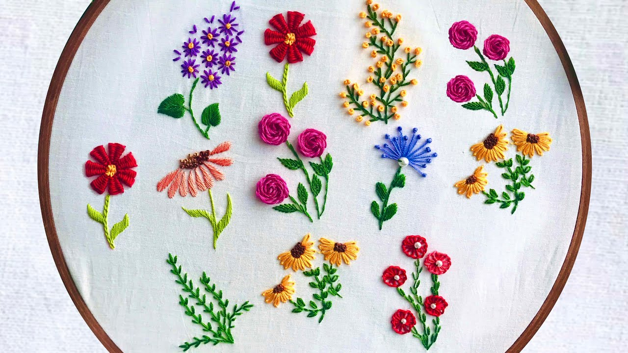 Hand Embroidery:  Step By Step Embroidery For Beginners / Peonies, Daises and Sunflower Embroidery