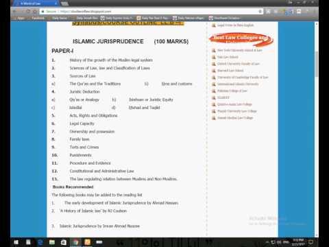 LLB Islamic Jurisprudence sallybus - YouTube