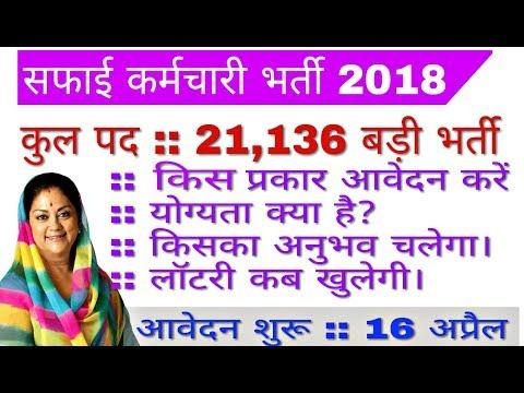 Rajasthan Safai Karamchari Bharti 2018 | total post 21136