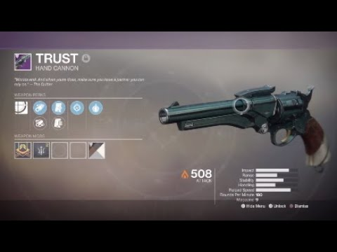 Destiny 2 Trust Hand Cannon Quick Review Youtube