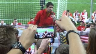 Děkovačka Karla Hrubeše; SK Slavia Praha - FC Viktoria Plzeň (0:0) 1:0