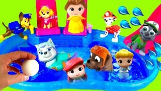 Paw Patrol and Disney Princesses Dive for Toy Surprises in Pool Compilation Show!