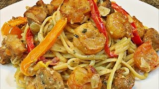 Cajun chicken and shrimp pasta recipe -- Creamy and easy pasta recipe