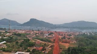 Drone African Village Life And The Holy Mountain of Banko - Ghana - Africa