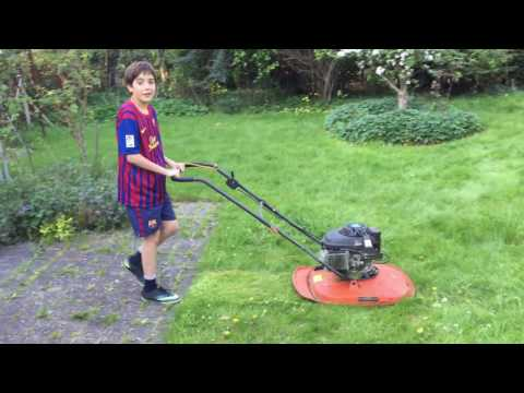 Andy demonstrates how easy it is with a hoover lawn mower