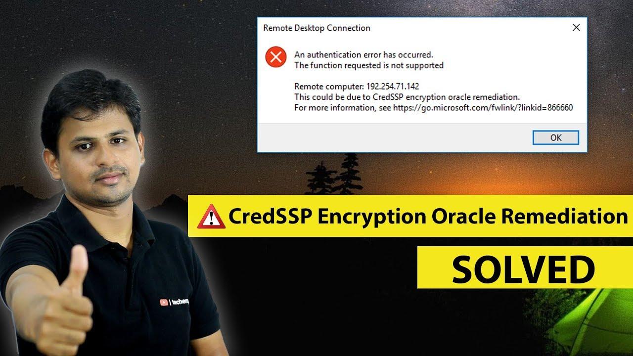 remote desktop connection credssp encryption oracle remediation