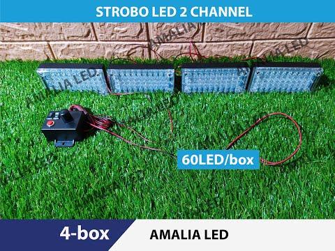 Lampu strobo   Strobe Patwal polisi   police  60 led 4 box 8 mode manual + manteng