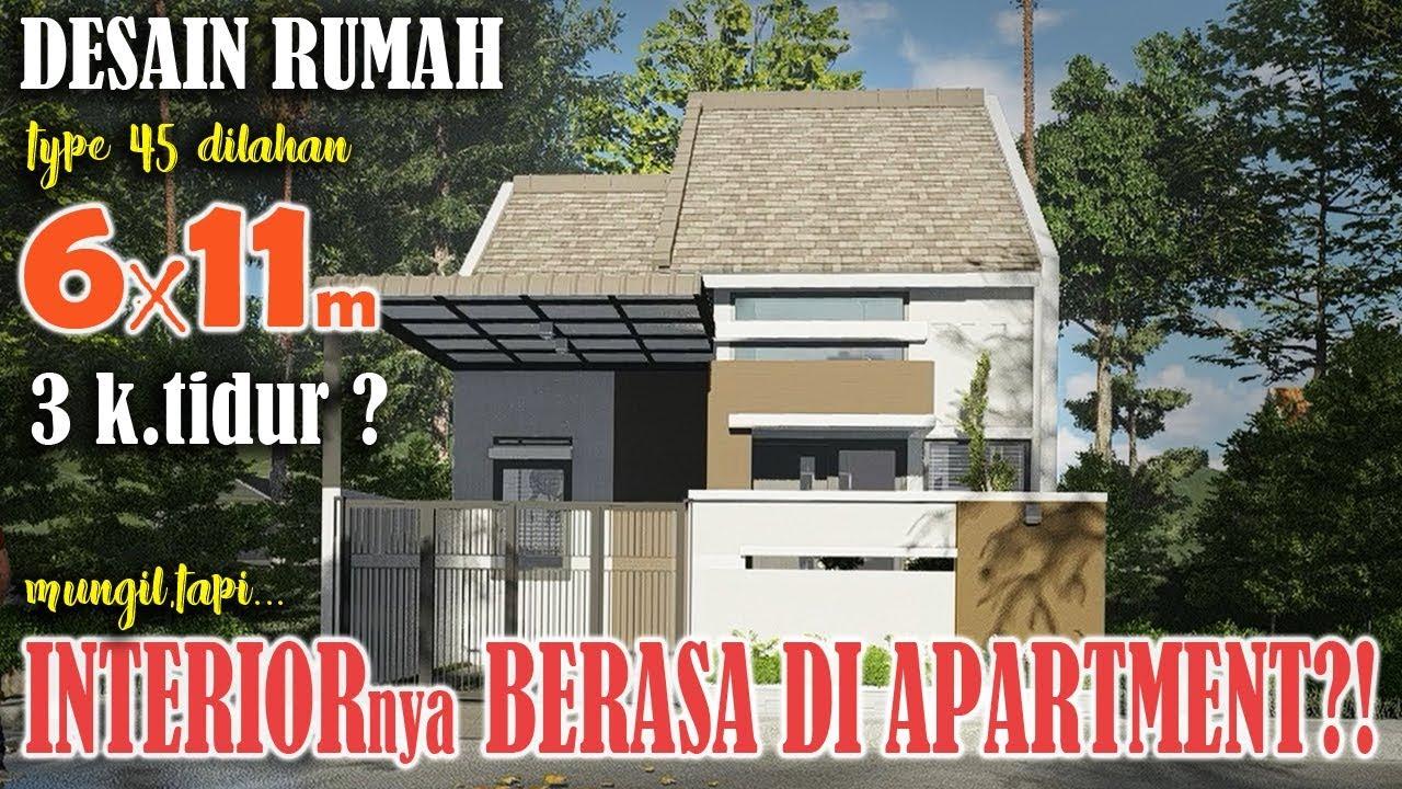 desain rumah ukuran 6x11 3 kamar tidur 1 lantai