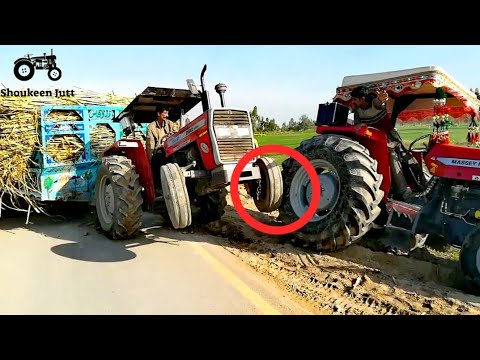 Tractor Accident | MF 260 Tractor Pulling The Trolley & MF 385 Tractor Fell Down In The Fields