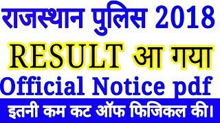 Rajasthan police bharti result Declared 2018