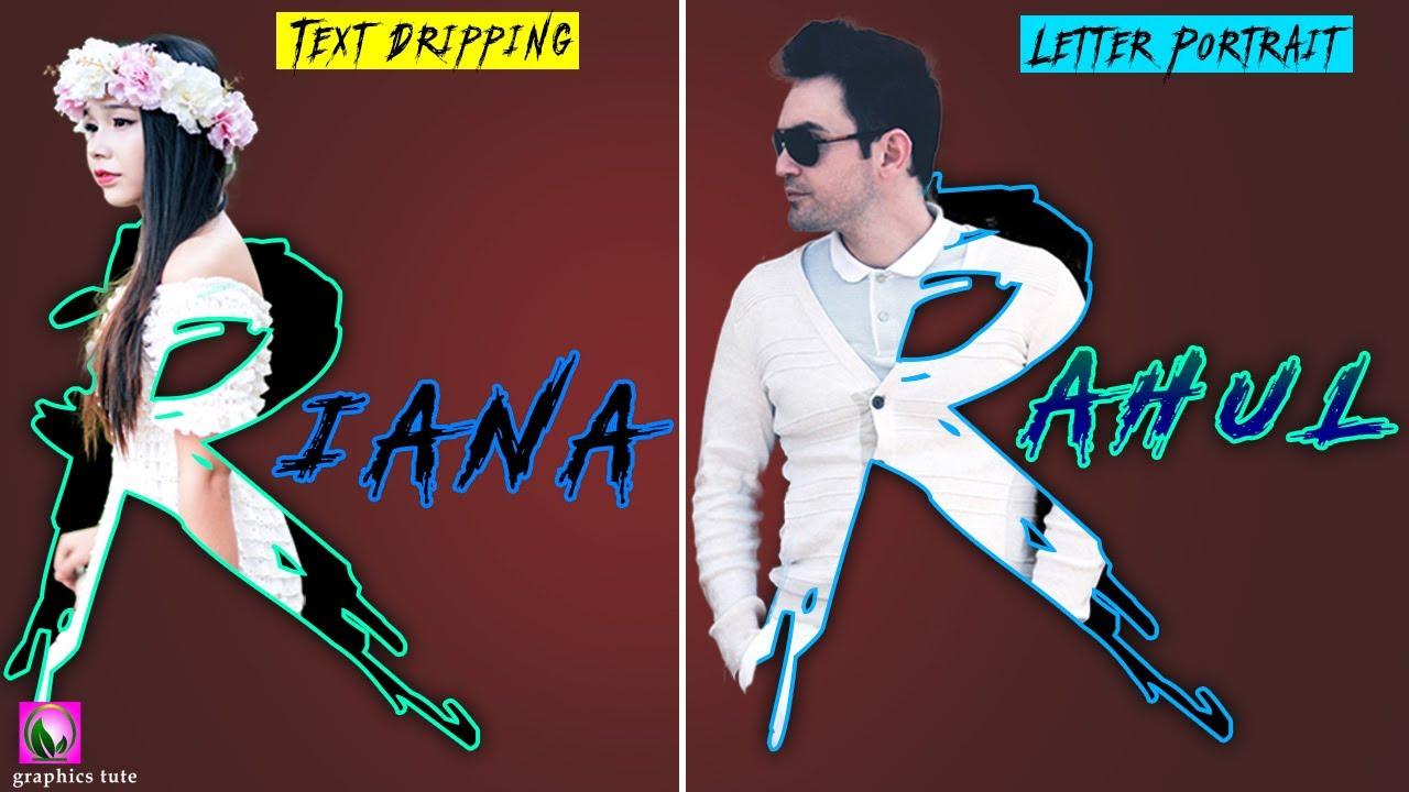 R Letter Portrait Photoshop - Dripping R Text Photoshop - 3D Text Effect Photoshop - graphics tute