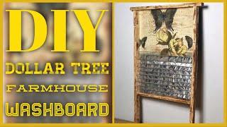 DIY Dollar Tree Farmhouse Washboard - Farmhouse Rustic Laundry Room Decor