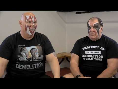 Demolition on Road Warriors feud & Ultimate Warrior!