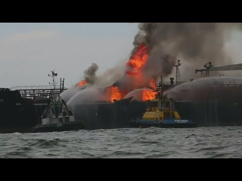 Oil tanker bursts into flames in Gulf of Mexico