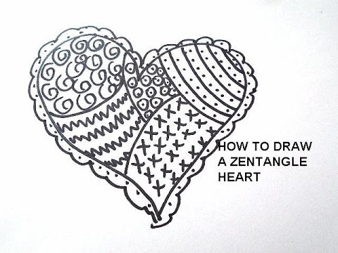 draw a ZENTANGLE HEART, doodle drawing, drawing lessons, free art ...