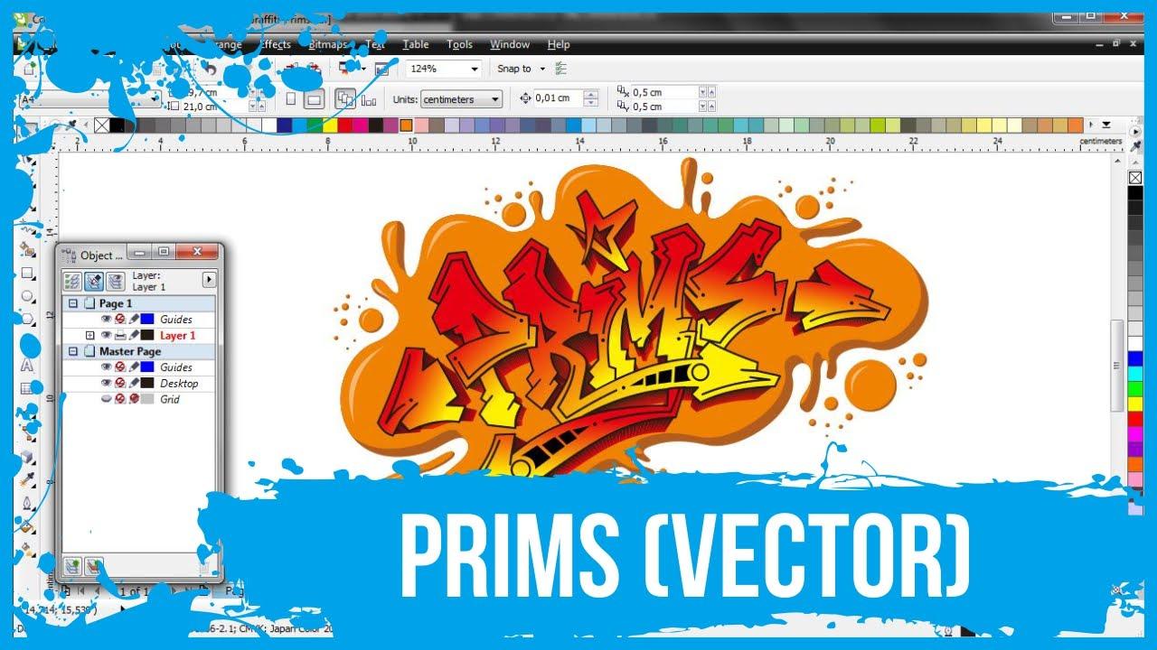 Tracing a hand drawn to vector prims graffiti coreldraw primscdr
