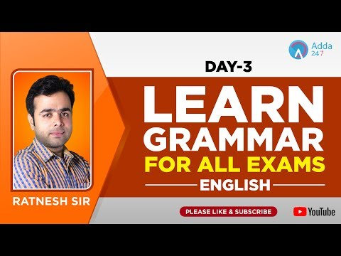 All Exams | Learn Grammar For All Exams | Day - 3 | English | Ratnesh Sir | 3 P.M
