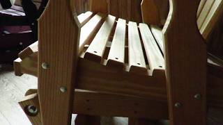 Amish Pine Wood Fan Back Glider Chair