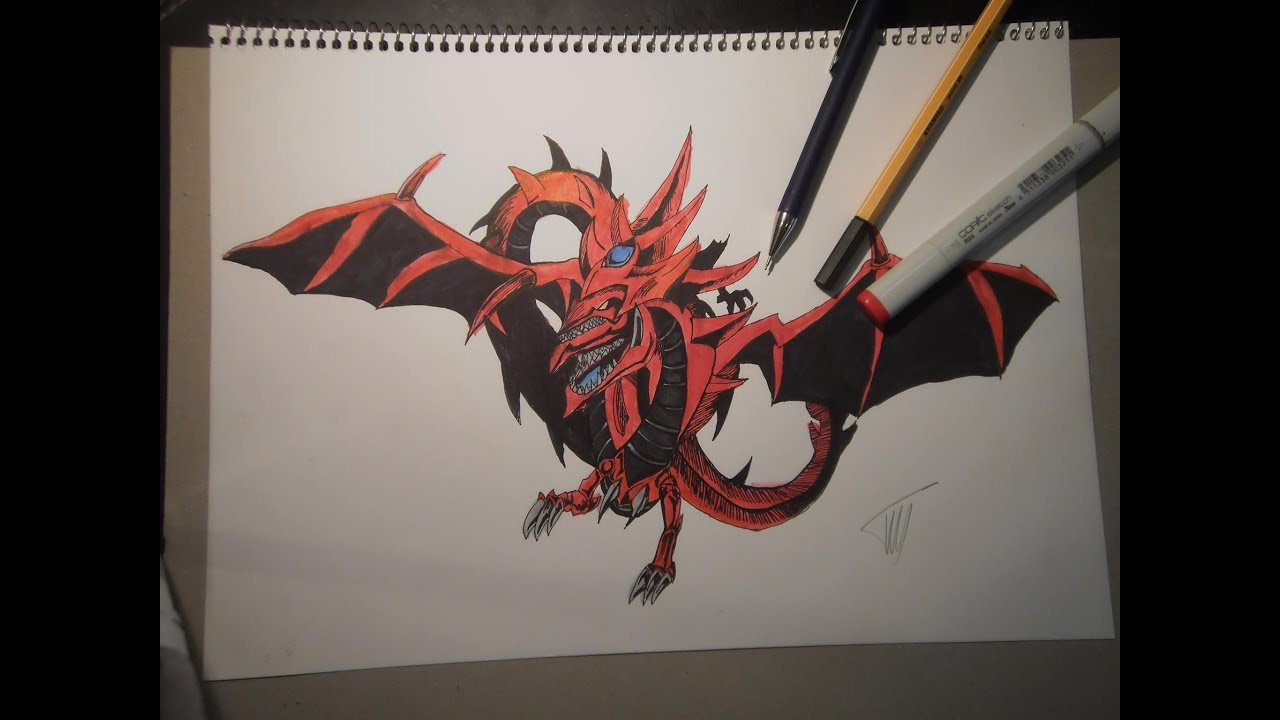 Drawing Slifer The Sky Dragon From Yu Gi Oh Otapanthorajr Youtube