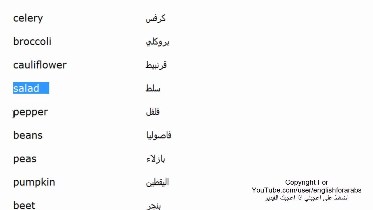 اسماء الخضروات بالانجليزي الجزء 2 Youtube