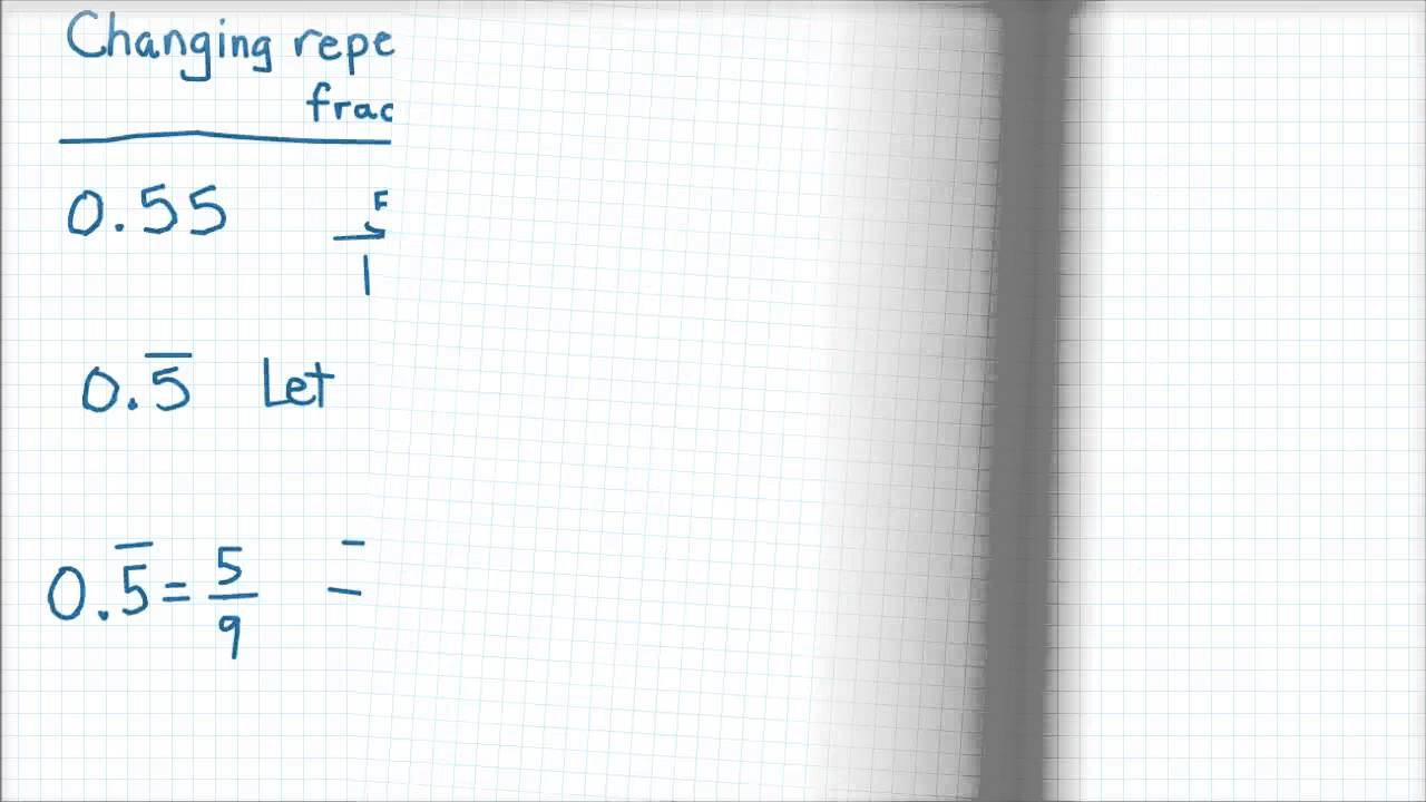 Repeating decimals into fractions - YouTube