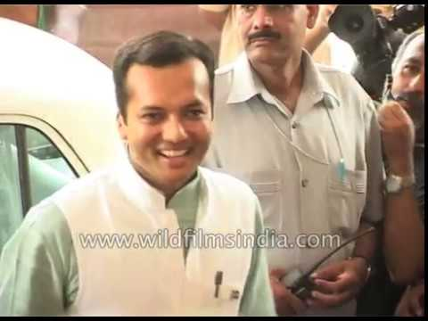 Indian industrialist Naveen Jindal on first day of Parliament, 2004