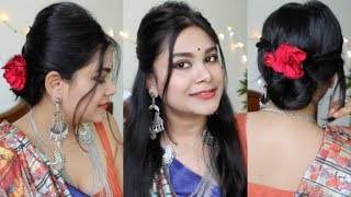 Indian FESTIVE Hairstyle For Short Hair - Durga Puja HAIRSTYLE | EASY Teenager Navratri Hairstyle
