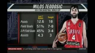 American commentators talk about Teodosic-Serbia-France