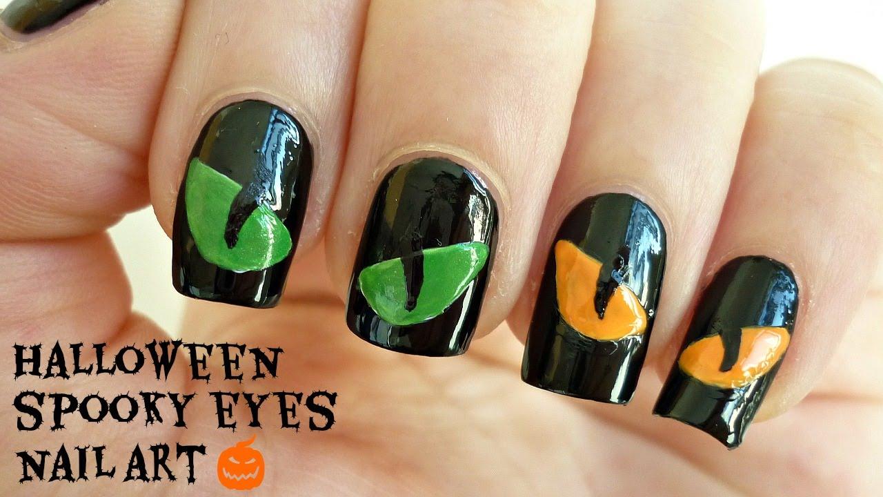 halloween spooky eyes nail art