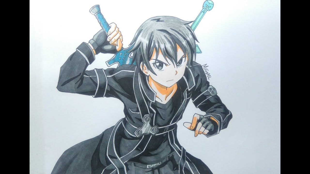 como dibujar a KIRITO SAO  How to draw