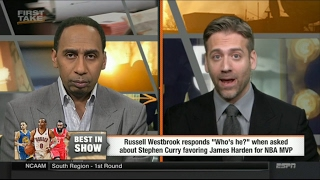 ESPN First Take Today - Russell Westbrook Responds to Steph Curry Saying James Harden Should Win MVP