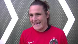 Angerer is back in portland and training with the thorns before she rejoins german women's national team to prepare for world cup.