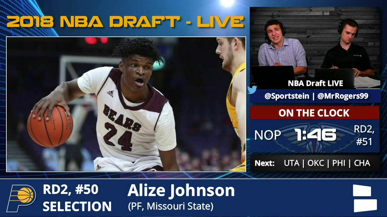 new arrival b980e 6f554 Indiana Pacers Select Alize Johnson With Pick #50 In 2nd Round Of 2018 NBA  Draft