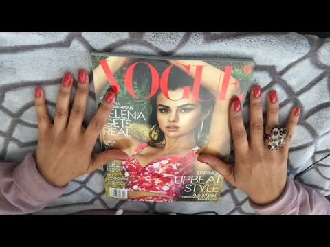 ASMR * Gum Chewing VOGUE Magazine Page Turning - whispering , Tapping Tingles