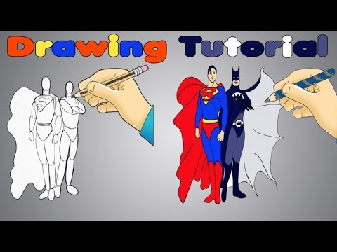 DRAW BATMAN VS SUPERMAN Kids Tutorial For Learning To Draw Superheroes