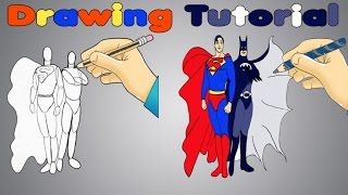 DRAW BATMAN VS SUPERMAN Kids tutorial for learning to draw superheroes