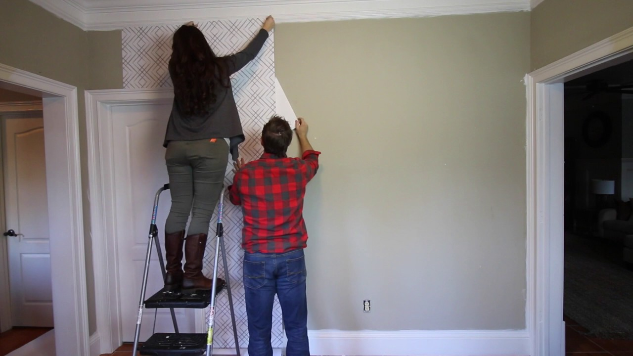 HOW TO WALLPAPER WALL with Peel & Stick Wallpaper - YouTube