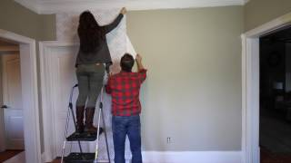 HOW TO WALLPAPER WALL with Peel & Stick Wallpaper