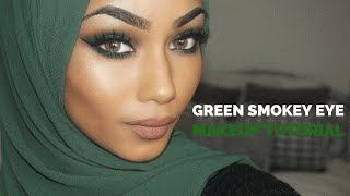 green smokey eye makeup tutorial