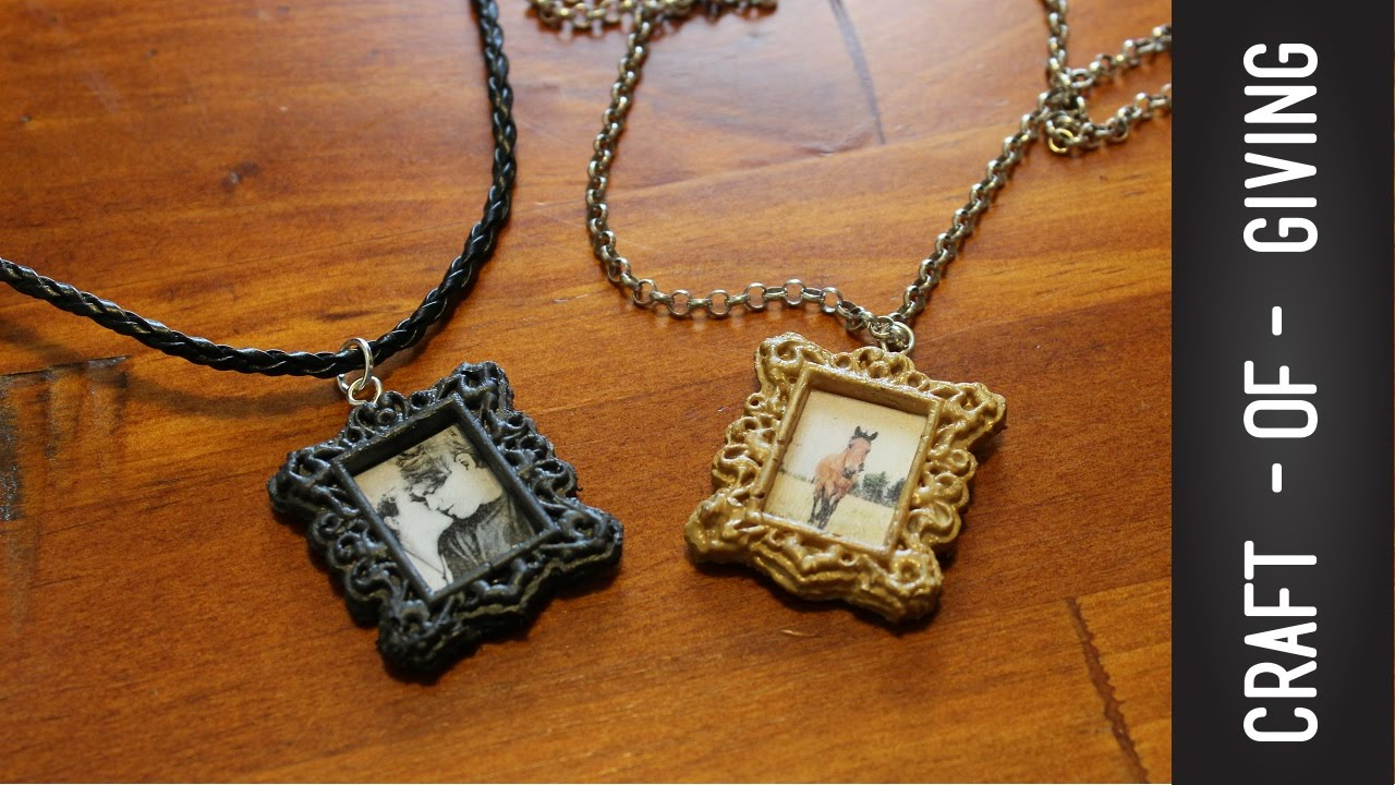 DIY Hot Glue Gun Mini Photo Frame Necklace | Craft of Giving - YouTube