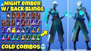 "NEW ""NIGHT EMBER"" SKIN Showcased With BACK BLINGS! Fortnite Battle Royale - BEST NIGHT EMBER COMBOS"