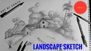 Pencil sketch of Landscape  #Art_by_sanju Time lapse video