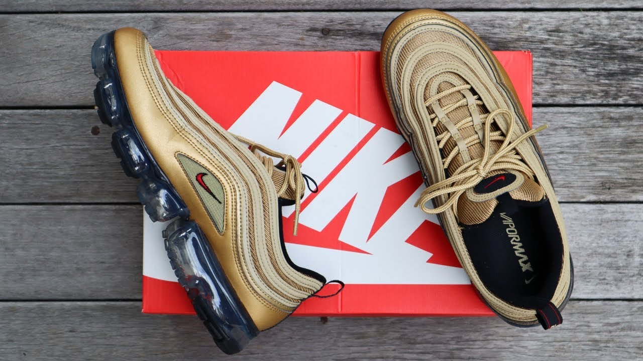Nike Air Vapormax 97 Metallic Gold Unboxing Overview On Feet Youtube